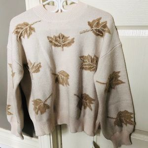 Maple leaf sweater with embroidered pearl new